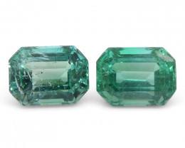 2.91ct Emerald Cut Emerald Pair