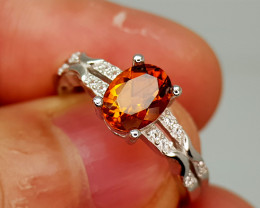 16Crt Madeira Citrine 925 Silver Ring 9 Natural Gemstones JI139