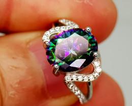 19Crt Mystic Quartz 925 Silver Ring 6 Natural Gemstones JI139