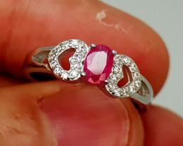 14Crt Ruby 925 Silver Ring Natural Gemstones JI139