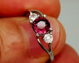 12Crt Rhodolite Garnet 925 Silver Ring 7 Natural Gemstones JI139