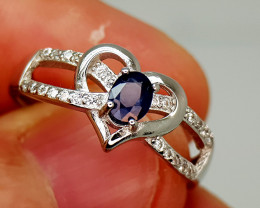 14Crt Blue Sapphire 925 Silver Ring 7.5 Natural Gemstones JI139