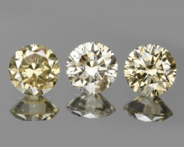 *No Reserve*Diamond 0.38 Cts 3 Pcs Natural Fancy Brownish Yellow Color