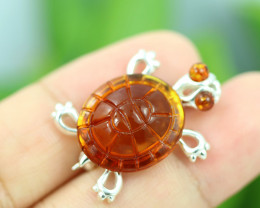 Natural Baltic Amber Sterling Silver Brooch code GI 904