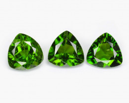 Chrome Diopside 1.40 Cts 3 Pcs Natural Green Color Loose Gemstone