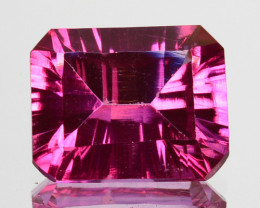 6.70Cts  Pink Natural Topaz Octagon 12 X 10mm Concave Cut Brazil