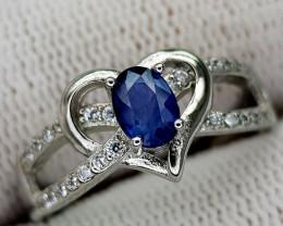 14CT BLUE SAPPHIRE 925 SILVER RING 7 BEST QUALITY GEMSTONE IIGC04