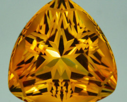 ~CUSTOM CUT~ 16.00Cts Natural Golden Orange Citrine Fancy  16mm  Trillion