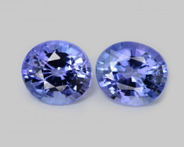 Tanzanite 1.08 Cts 2pcs Amazing Rare Violet Blue Color Natural Gemstone