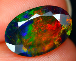 Black Opal 2.21Ct Bright Color Play Facet Welo Black Smoke Opal B2813