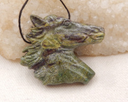 126.5cts Natural Unakite Horse ,Hand Carved Pendant ,Carved Horse Pendant H