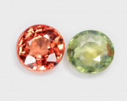 *NoReserve* Sapphire 0.94 Cts 2 Pcs Natural Fancy Orange/ Green Gemstone