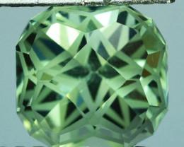 ~CUSTOM CUT~ 5.04Cts Natural Green Prasiolite / Amethyst  10mm Cushion Fanc