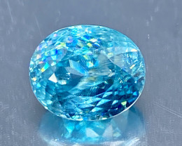 4.68ct VS Blue Zircon, Cambodia FINE CUT 9.3x7.5mm
