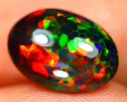 Black Opal 2.56Ct Bright Color Play Facet Welo Black Smoke Opal S257
