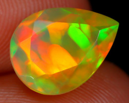 1.69Ct Bright Neon Rainbow Flash Color Play Faceted Welo Opal C2907