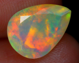 1.45Ct Bright Neon Rainbow Flash Color Play Faceted Welo Opal C2918