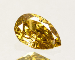 Awesome!! 0.34Cts Natural Untreated Diamond Fancy Yellow Pear Cut Africa