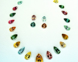 74.35Carats 23 Pis Mix Color Tourmaline cut gemstone for Set