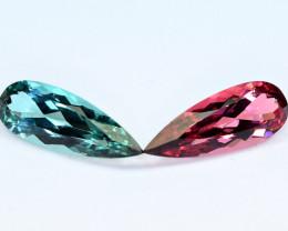 9.12Carats 2 Pis Mix Color  Tourmaline cut gemstone Pairs