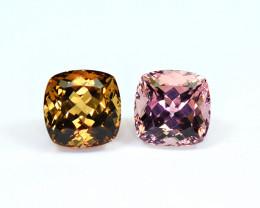 17.88Carats 2 Pis Mix Color Tourmaline cut gemstone Pairs