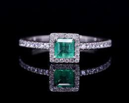 #9 Certified Colombian Custom Emerald Ring with VVS Diamonds