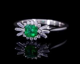 #6 PLATINUM Certified Colombian Custom Emerald Ring with VVS Diamonds