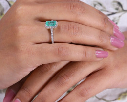 # 4 Certified Colombian Custom Emerald Ring with VVS Diamonds