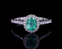#3 PLATINUM, Certified Colombian Custom Emerald Ring with VVS Diamonds