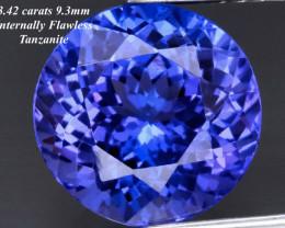 3.42ct IF Vivid Violet Blue Tanzanite 9.3mm