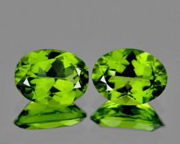 9x7 mm Oval 2 pcs 3.50cts Green Peridot [VVS]