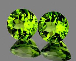 6.00 mm Round 2 pcs 1.71cts Green Peridot [VVS]