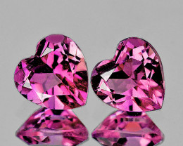4.00 mm Heart 2 pcs 0.42ct Pink Tourmaline [VVS]