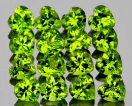 4.00 mm Heart 16 pcs 4.46cts Green Peridot [VVS]