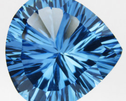 9.70 cts Amazing Pear Concave Cut Natural Swizz Blue Topaz  Loose Gemstone