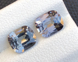 Dazzling Metallic Gray Spinel Pair