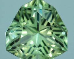 ~CUSTOM CUT~ 6.35 Cts Natural Green Prasiolite / Amethyst Trillion Fancy Br