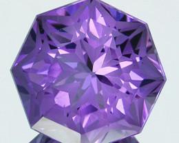~CUSTOM CUT~ 4.55 Cts Natural Purple Amethyst Fancy Round Bolivia