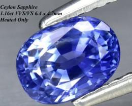 1.16ct VVS/VS  Ceylon Cornflower Sapphire, Heated 6.4x6.2mm