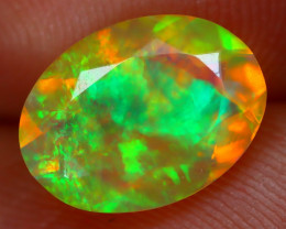 1.41Ct Bright Neon Rainbow Flash Color Play Faceted Welo Opal B3110