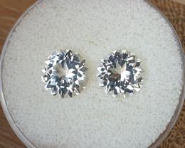 6,00ct White Topaz pair - Master cut!