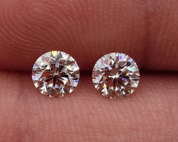 Pair Perfect 3 EX GIA Certified Round Brilliant Cut 0.84cts Natural Diamond