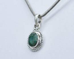 EMERALD PENDANT 925 STERLING SILVER NATURAL GEMSTONE JP268