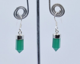 GREEN ONYX EARRINGS 925 STERLING SILVER NATURAL GEMSTONE E89