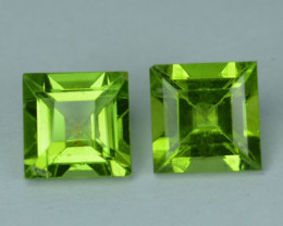 3.41Cts Natural Parrot Green Peridot 7mm Square Cut 2Pcs Pakistan