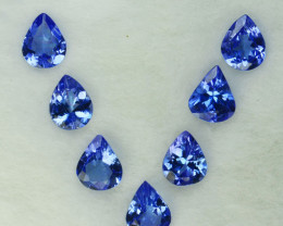 2.09 Cts Natural Purple Blue Tanzanite 5x4mm Drop Cut 7Pcs Tanzania