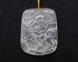 74cts Natural Clear Quartz Dragon Carving Pendant Bead H1782