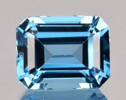 3.60 Cts Natural London Blue Topaz 10 X 8mm Emerald Cut