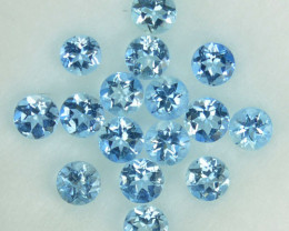 0.96 Cts Natural  Blue Aquamarine 2.6-2.3mm Round Parcel Brazil