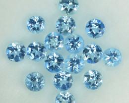 0.70 Cts Natural  Blue Aquamarine 2.5-2.3mm Round Parcel Brazil